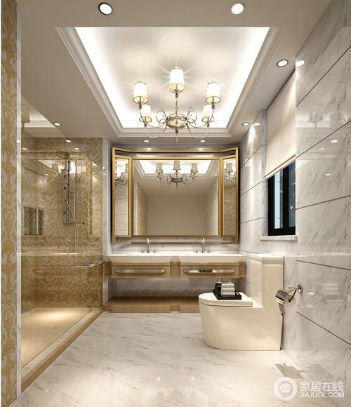 卫生间以灰白色砖石铺贴出干净与利落,白色调的空间也因为暖光而变得通明;黄色马赛克砖石让整个淋浴室更有形式艺术,同时也以玻璃门解决了干湿问题,镜子的折扇形设计也因为黄铜质地更显精致,盥洗台的现代设计提升了生活的品质。