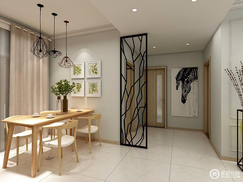 餐厅以米色地砖铺贴空间,搭配浅色调的空间,营造一种素静;黑色隔断简单区分空间,却不失互动性,斑马黑白挂画搭配青草画,让空间更具自然风情;原木桌搭配木椅,再加铁艺几何吊灯,让空间多了简约朴质,同时,也多了设计感。