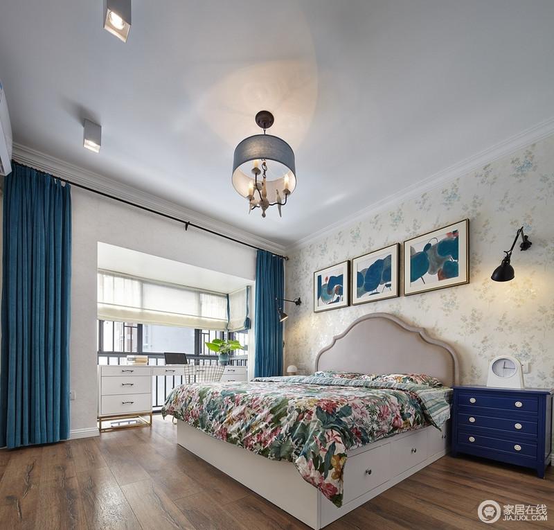卧室作为一个私密的空间,清晰舒适是最近基本的要求,舍掉繁琐的设计,阳台出房子了书桌,因为采光极好,易于学习;空间中生机勃勃的背景墙面,荷叶抽象挂画,还有小碎花被子,搭配蓝色窗帘,搭配出现代美式田园的朴质和轻快。