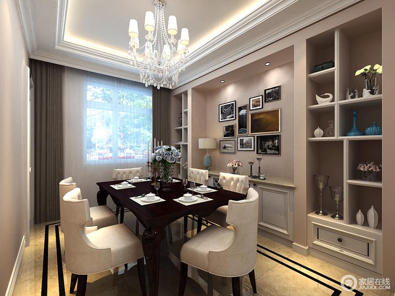 餐厅线条设计简洁,以实木材料制作的餐朴实而自然,细节处理十分考究,如流畅的桌边线条,与椅子的纹理和铆钉设计都凸显着品质感;餐桌旁别具一格的陈列柜实用美观与墙面的画作,装饰出家的另一种格调,十分别致。