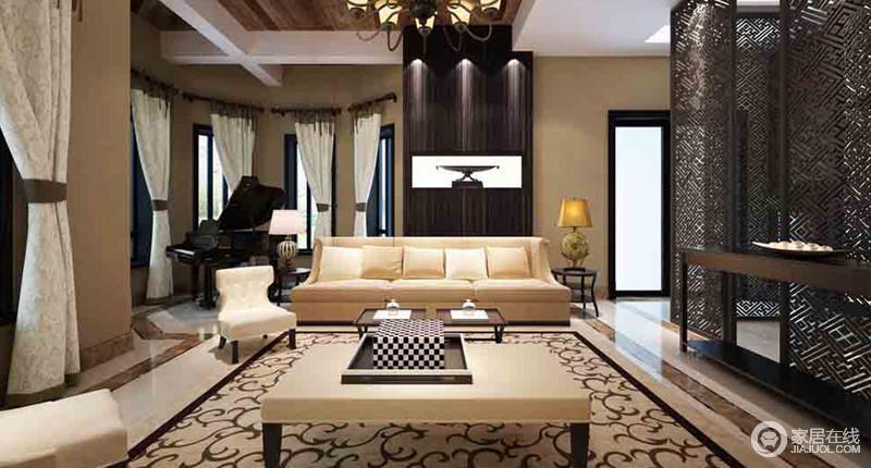 客厅借中式镂空屏风将空间做了简单地分区,给主人一个额外的休息空间,中式岸几和中式元素的地毯裹挟出了东方设计的端庄和大气;米色系的沙发搭配扶手椅、茶几和窗帘,让空间得体大方,也突出了色彩层次;角落里的钢琴供主人消闲时娱乐一番,新中式黑檀木圆几上两个造型各异的中式台灯,足显尊贵。