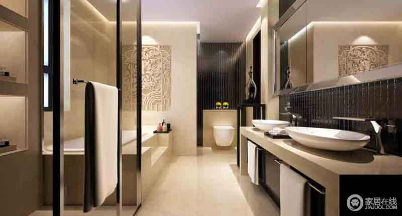 卫生间虽然结构上并不利整,但是通过米色砖石铺贴整个空间,并在浴缸区镶嵌了石雕图作装饰,简洁而工艺感十足;浴缸和淋浴区独立分区,带来舒适、洁净地沐浴方式,而灵感来源于木楞屏风的墙面与盥洗区的黑色小砖搭配出了中式庄重,盥洗台的毛巾架和椭圆形的盥洗盆,将现代和实用设计融入空间,提升空间的生活体验感。