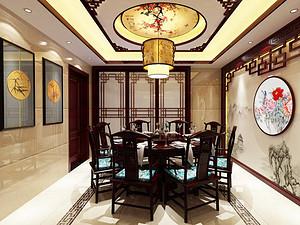 中式风格餐厅贝博官网登录效果图