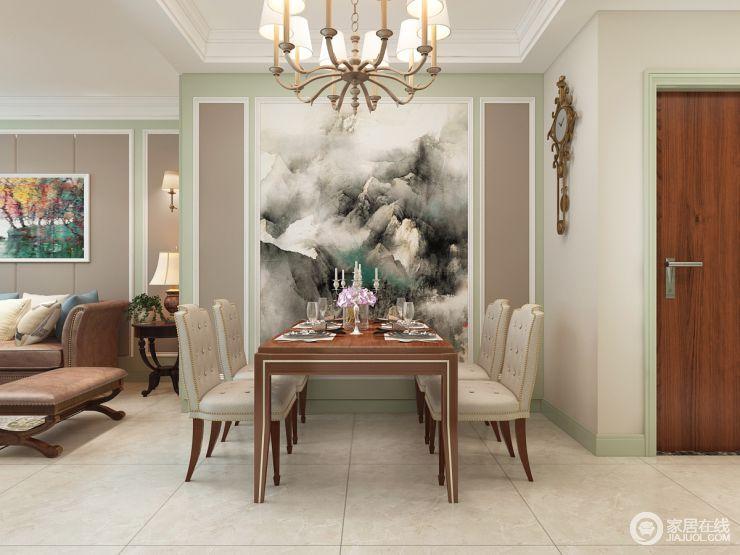 餐厅背景墙的水墨图,让整个空间大气,舒畅,驼色与绿色和谐之中自得一种轻和;现代美式家具少了传统的厚重,带着现代的味道,让用餐也是一种惬意。