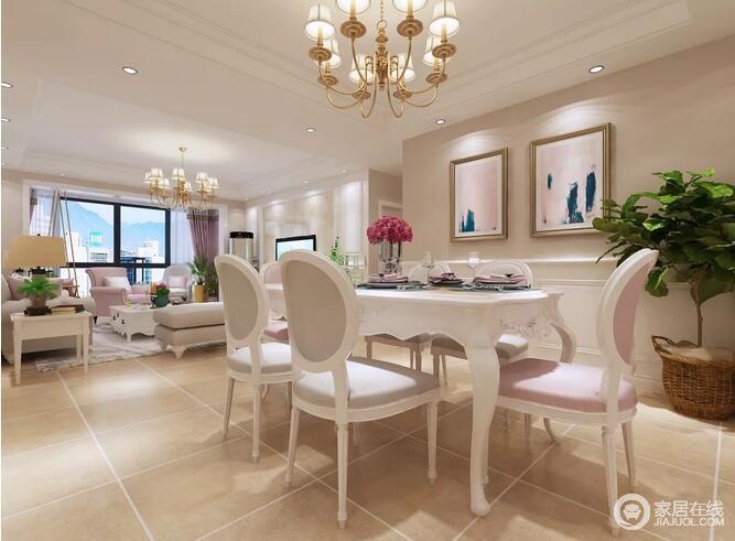 餐厅宽敞而温馨,墙壁上的挂画,搭配一套简洁舒适的餐桌椅,雅致的长餐桌,精美的花束,显得精致又情调。