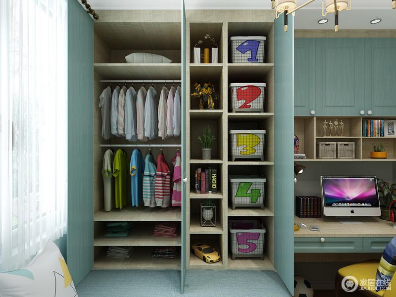 榻榻米一体的衣柜具有超强收纳性,解决了储物的作用,让生活更有条理;蓝色柜面既环保又给空间带来一种清新,格外雅静。