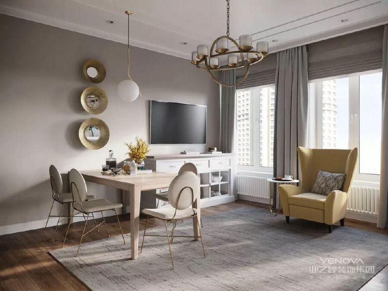 明朗、优雅是这间现代风格与美式风格融合的公寓所带给大家的视觉感受,以米色与白为基底的空间穿插木材和金属质感元素,大而透亮的客厅即便显得硬朗也不失柔和,充满了对美式文艺的诠释。