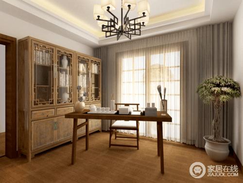 书房结构简单,以功能为主,木地板反衬出温和,并因绿植多了自然清和;驼色窗帘和纱幔构成柔和,与考究地古董书柜、新中式实木桌椅演绎不同的中式美学。