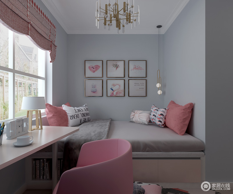 榻榻米床的设计增加了舒适和实用性,浅灰色的床品反衬出蓝色漆的清雅;简约的挂画搭配淡粉色的配色,显得更为温馨。