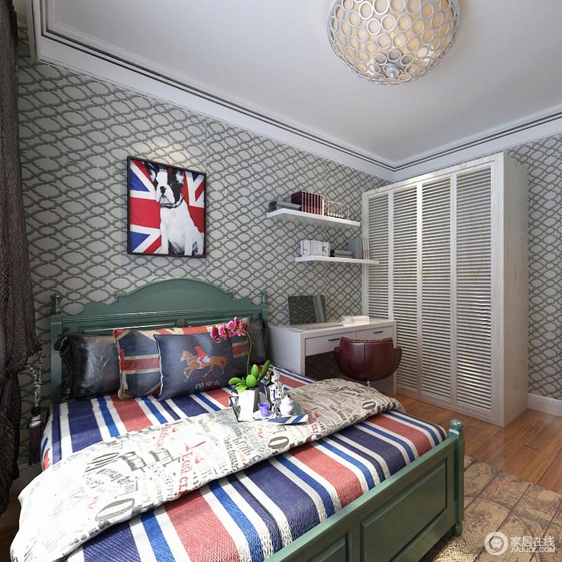 椭圆形壁纸唤醒空间的魔幻,英伦风情地床品让空间颇有异国氛围。