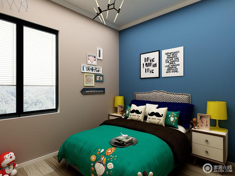 儿童房的设计采纳了孩子的意见,运用了大量的儿童色彩,在保证环境能提供舒适的睡眠环境下,又增加了童趣感,让空间变得活泼起来。
