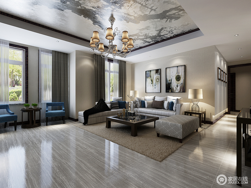 客厅结构方正,吊顶的几何结构与金属吊顶装饰在欧式金属灯具的掩映下,愈发显得奢华;灰色沙发搭配休闲区的蓝色扶手椅组合,无形中,给空间带来一种轻奢和优雅。