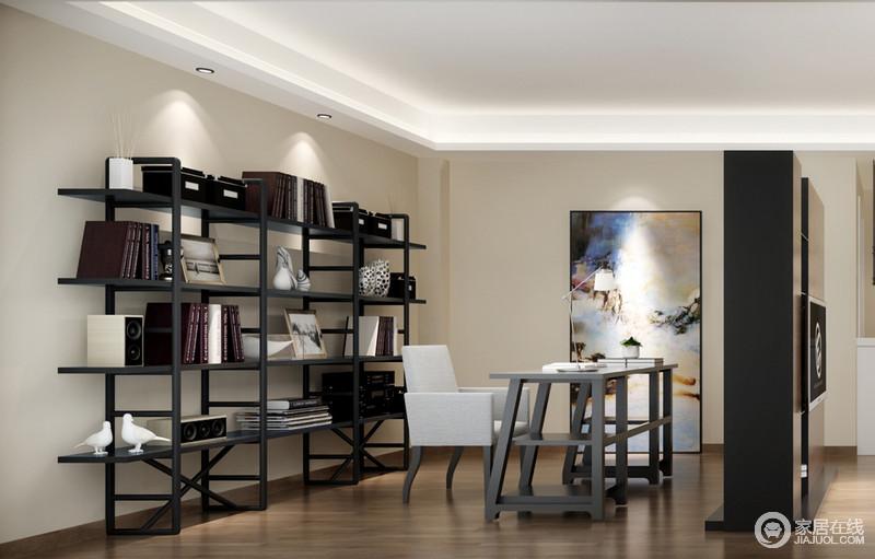 米色调的空间并无太多的装饰,设计师从实用出发,力求营造一个简单的学习氛围;黑檀木书架的简约造型呈现了现代设计的极简之风,而灰色双层书桌收纳性强大,以实用与艺术画的彩色,书房更俊秀。