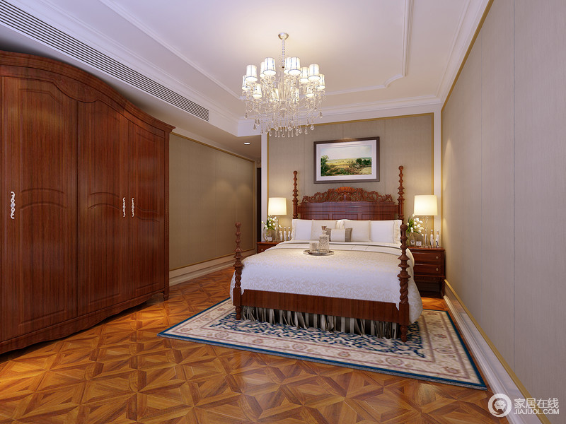 卧室白色的线条搭配深灰色墙面,奠定了空间的雅静和大气;而美式胡桃木衣柜和螺纹四柱床赋予空间美式复古的底蕴,床头柜上的现代风台灯与水晶灯构成空间的通明和暖,搭配软装,渲染出生活的沉稳与温馨。