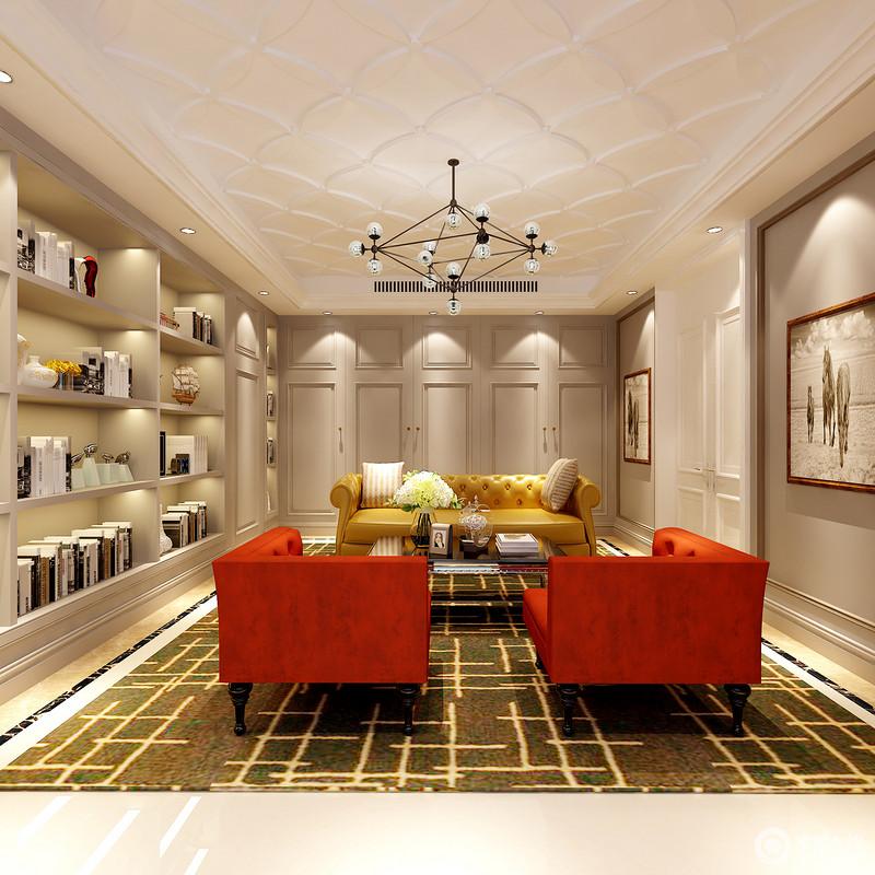 休闲室以白色菱形石膏吊顶和浅灰色墙面形成反差,却以几何设计延续空间的规整和个性;书柜占据了整个墙面,搭配挂画,让生活充满了文艺气息;红色和黄色意式纽扣沙发不仅精致大气,还让空间更为时尚,再加上现代铁艺球泡吊灯和黑黄色线条地毯的衬托,明艳而活力跃动。