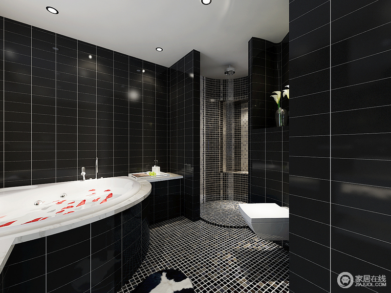 设计师为空间设计了不同的沐浴区,可供主人选择,也解决了干湿分离的问题,再加上黑色砖石搭配马赛克砖石,更显效果,让沐浴也精致。