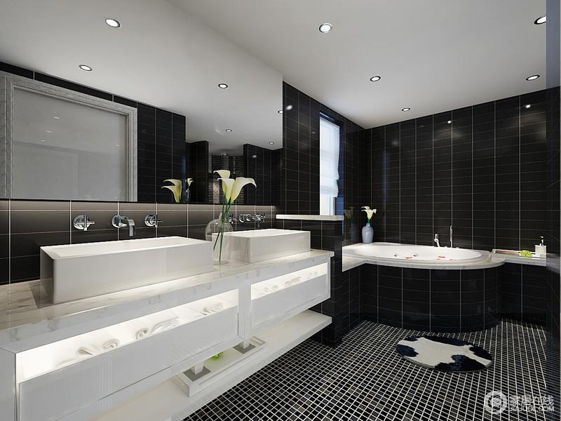 卫生间以黑白色为主,通过白色瓷砖搭配白色盥洗柜,来张扬黑白艺术,无形中带来现代艺术之美,当然了大浴缸并不用太过考虑干湿问题,让主人可以尽情沐浴,享受生活的舒适。