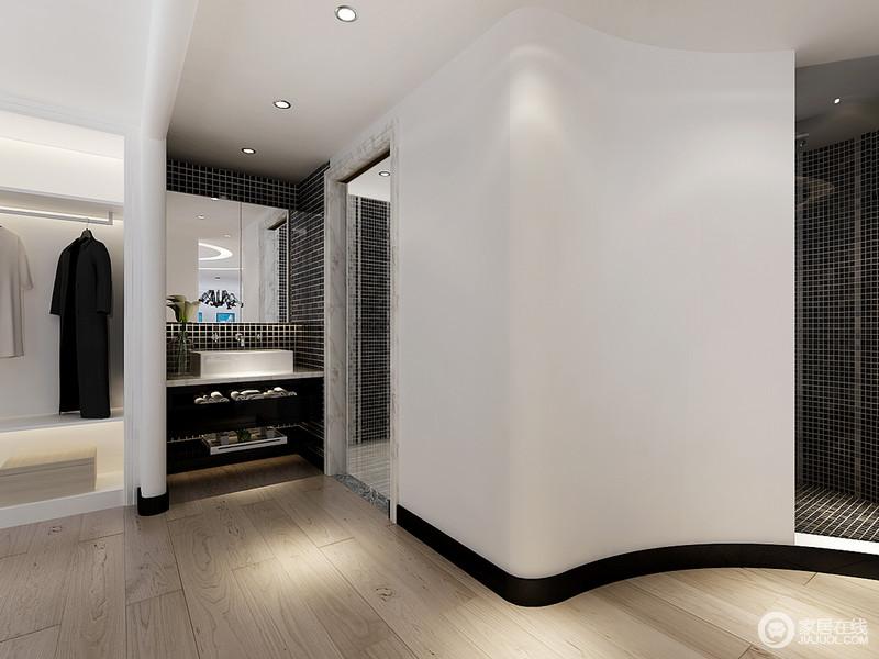 黑白的空间自带一种经典的艺术,小方砖的墙面更是独居艺术感,搭配功能性十足的盥洗柜,让生活多了份简单。