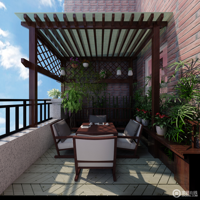 设计师在开放式的露台上安装了木棚,搭配着低矮的茶几和座椅,打造出自然休闲韵味;墙面饰以复古红砖,配着地面的木板,苍翠绿植环绕其间,阳光疏落映照,露台上充盈着满满当当的自然田园气息。