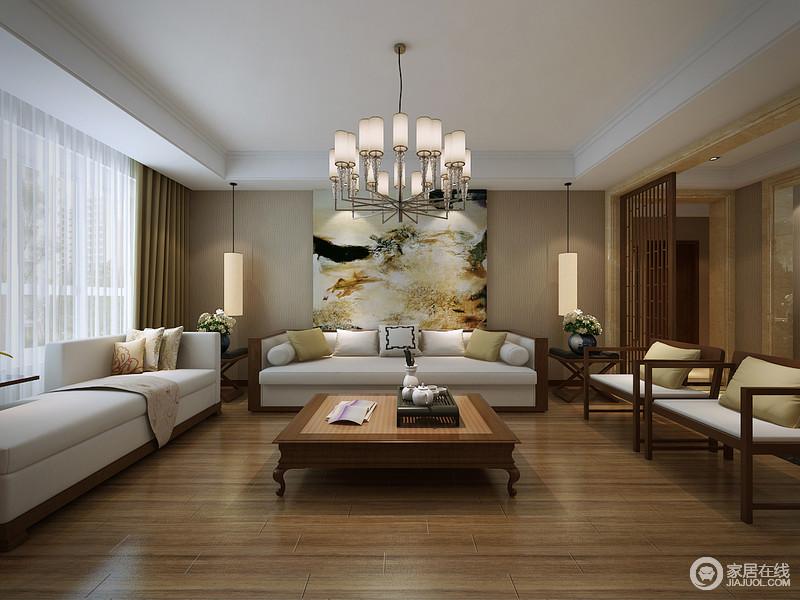 简约空间中,驼色背景墙与原木地面色调温和相近,营造出温馨舒适感;现代实木布艺沙发与复古明式茶几、座椅混搭组合,构建出平和温柔的雅韵;对称壁灯,悬挂在装饰画两侧,水彩泼墨,所彰显出的古典风情,呼应着镂空隔断花窗门。