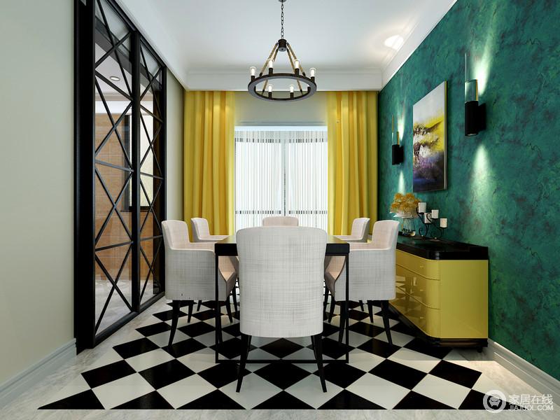 餐厅和厨房通过玻璃格栅推拉门来区分空间,而绿色壁纸搭配黄色窗帘,活跃了整个空间;黑白相间的地砖增加了空间的摩登,现代驼色餐椅的绒面质地颇为柔软,与铁艺美式吊灯平衡出空间的质感,而黄色边柜搭配彩色油画,给空间色彩魔力。
