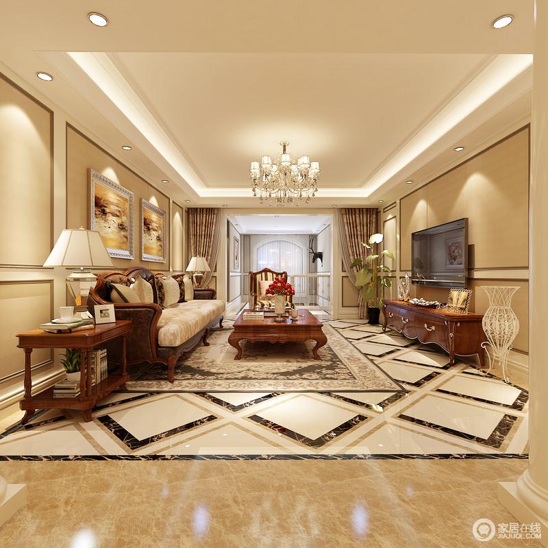 虽然空间结构利整,但是设计师利用砖石铺贴出了空间的几何动感,菱形地面激活了空间;美式实木家具组合端庄、复古,搭配油画和其他软饰,营造了一个和暖温馨的生活空间。