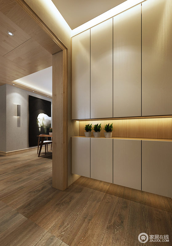 精细、用心的设计总是反应在细节中,虽然空间看似简约,但是不论吊顶的边角,还是收纳柜与整体结构的融合,都体现了设计师对技艺的重视;整体式收纳柜整洁的设计,让走廊美观与实用并存。