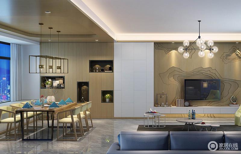 餐厅在装饰上延续客厅的木质结构,从天花板到独特的收纳酒柜、简约方正的餐桌椅,大面积木质的温润材质,赋予空间自然的清新;设计师在酒柜与电视墙间用白色瓷砖做以划分,两厅看似无隔断,实则温和独立。