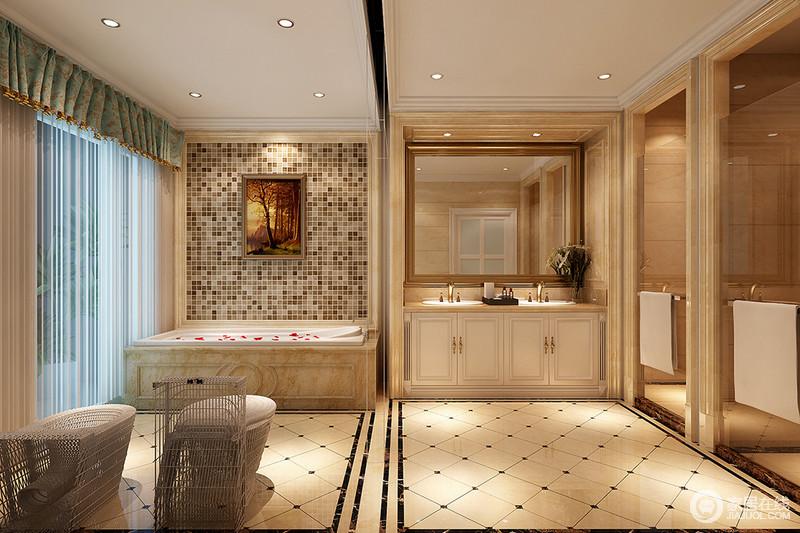 卫生间利用是石膏和砖石门框来框裱空间,形成硬朗地几何立体效果;空间规划了不同的功能区,解决了干湿分区的问题,浴缸区的马赛克砖与地面的菱形方砖铺贴出造型之外,让空间多了动律;盥洗台金色五金件与米色石材的台面延续了米色的暖调,让整个空间轻奢不是温馨。