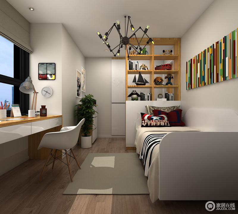 儿童房的设计并没有采用太多亮色,而是以素色为主,并搭配原木书柜,还原一个足够朴质的空间;各种玩具与学习文具,给孩子的生活增添了很多温馨。