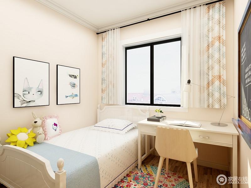 儿童房虽然不大,却足够温馨,淡米色的涂料粉刷出了和暖,搭配白色单人床、书桌,让孩子拥有自己的空间;卡通画作、彩色圆台和条纹窗帘,给予空间青春之色,满是活力。