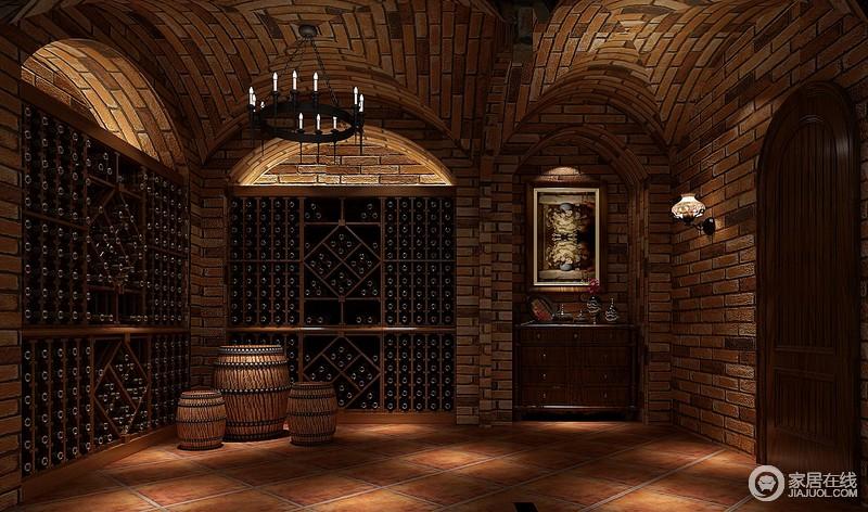 酒窑,采用红砖,自然的打造,嵌入式的酒柜,圆凳,圆桌酒桶的设计,有种回归自然的感觉