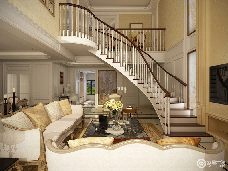 客厅弧形的楼梯将弧线的美感表现的淋漓尽致,形成空间的曲线之美;米色的布艺沙发给空间带来温度,同时,搭配欧式茶几,实用而精致。