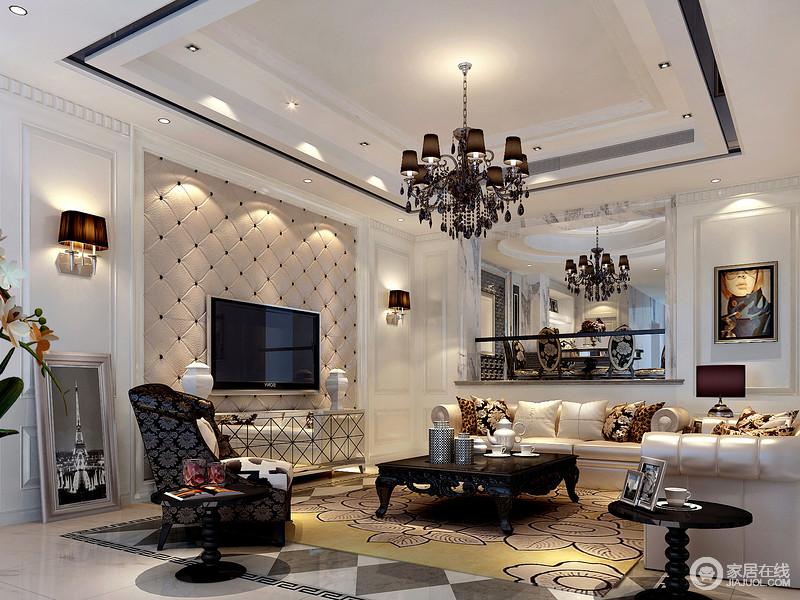 客厅的结构和线条都比较简单,但是,设计师利用软包背景墙、几何拼接银色电视柜和复古木雕家具等串联起空间的层次,也正是因为一灯一椅,组合出了混搭的尊贵感;精致的黑白几何器皿、人物挂画装饰着香槟金的沙发,让生活温馨之余,也是贵气十足。