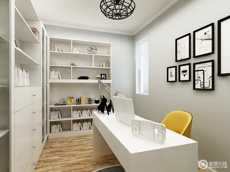 书房十分朴素,因为在用色上以灰驼色为主,就连书柜的选择也力求朴实大气,几何的收纳设计,为主人的生活带来了极大的便利;黑框挂画装饰着墙面,与黄色木椅、白色书桌,成就了现代利落的学习生活。
