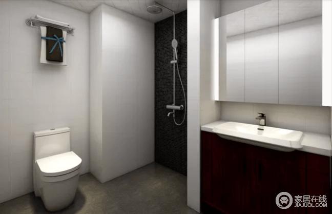 卫生间设计以黑白灰为主,以永不过时的元素,成就空间的利落;淋浴区使用黑色马赛克做整体墙面,其他墙面使用白色的面包砖给人干净、整齐的氛围。