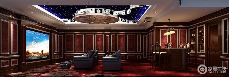 影音室,吊顶采用了很多的水晶做装饰,圆形的造型,美观