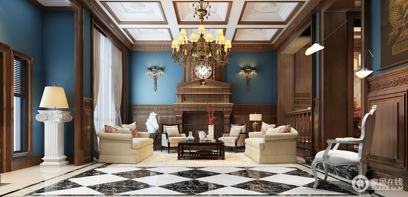 空间吊顶的石雕花和木墙延续古典巴洛克的富丽,却以实木的形式,构建空间结构和基调,搭配木质壁炉,足显复古;黄铜壁灯的精贵搭配吊灯,给予空间厚重感,与石质落地灯、木头雕塑彰显年代感带来的文化积淀;而以经典蓝来粉刷墙面,与黑白菱形地砖构成空间的摩登,中和了米色和花卉扶手椅的柔和,造就空间的尊贵、奢华。