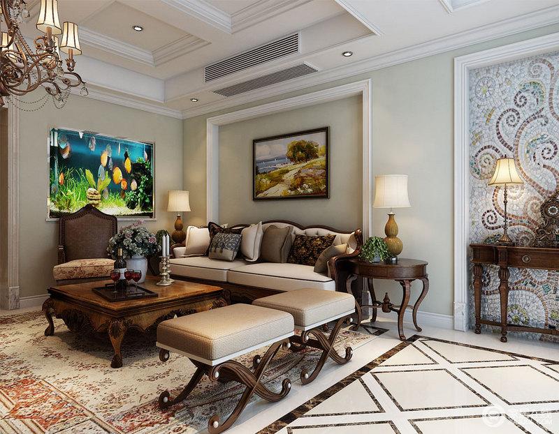客厅的地砖以菱形的形式铺贴出了空间的动律,彰显几何美学,浅绿色漆因为白色石膏线而不显单调,再加上美式家具裹挟出的厚重感,平衡出家的稳重和大气。