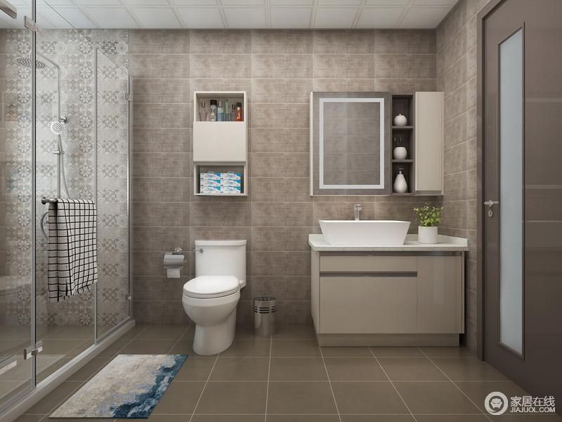 卫生间以褐色砖石为主,搭配地砖,构成了稳重和成熟的味道,适合老年人实用;淋浴间干湿分离的设计让沐浴更为惬意,马赛克砖石缓解了单调,给主人现代的卫浴生活。