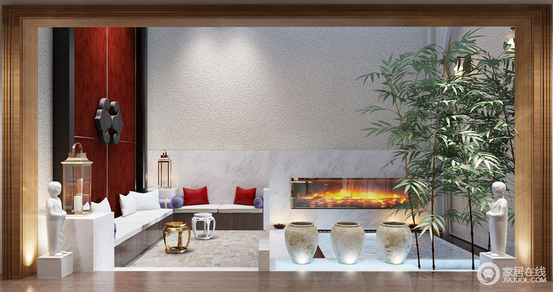 休闲区位于空间的另一侧,半开放式的设计也足够宽敞,现代的线条与粗粝的墙面,打造一种回归原始淳朴的状态;大理石墙和壁炉同用白色,正如卡座椅垫一样,给空间带来纯净感,紫色和红色靠垫作为装饰,调和出了色彩活力;中式金属配件的门板样式奠定了空间的东方雅致,搭配金属手提式台灯和坐凳,混搭出了浓郁的新中式安逸和宁静。