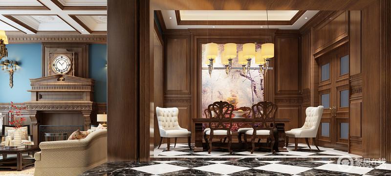 餐厅开放式的设计,更显自在和大气,整体结构以胡桃色实木作装裱,格外沉稳,就连白色吊顶都加以点缀,自成一体;美式餐桌餐椅组合因为白色纽扣椅子带来了些许温和,粉紫色的风景画与金属吊灯组,成就空间的奢贵和文艺。