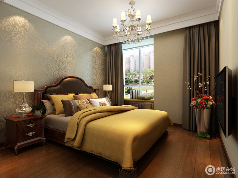 卧室以驼色壁纸和闷青色浮雕壁纸组合,渲染空间的复古,欧式水晶灯无疑锦上添花,更有年代感;美式古典家具的流行型设计因为实木质地更多了份尊贵感,让小型飘窗看上去也十分精致,而黄色床品点缀出了温馨。