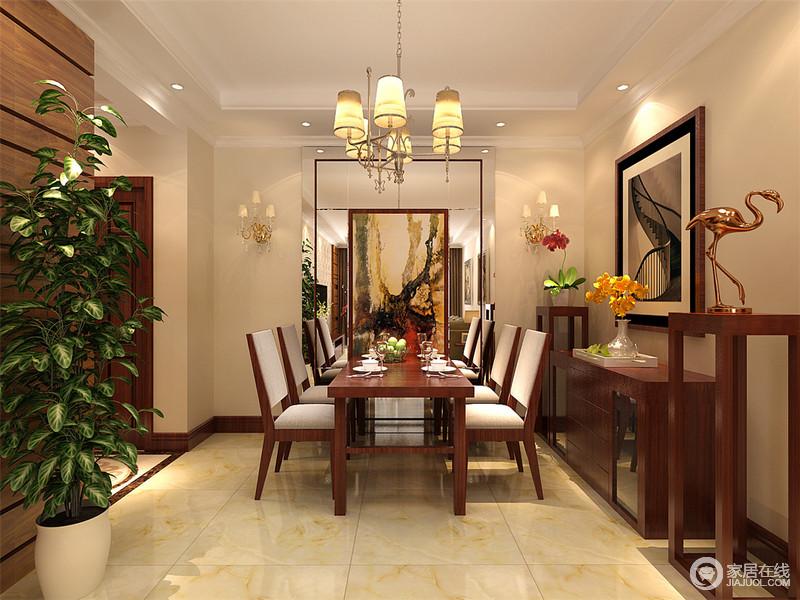 餐厅开放式的结构也格外方正,为了增加空间的明快,特地将镜子立于墙面,搭配挂画,简单地塑造了空间的镜面艺术;博古架上的摆饰、挂画都起到了调和的作用,让原本的现代家具也多了份趣意。