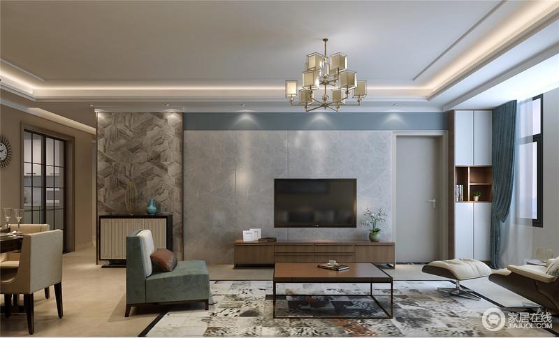 宁静沉和的色调将内敛低调的雅致展现在空间里,墙面以不同的材质和图案拼接,带来丰富的层次性。简约疏离的空间布置,强调了空间的简洁静逸。