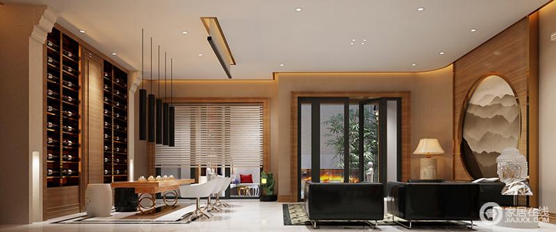 休闲室的功能一分为二,将休闲区和品茶区利用动线分开,却以原木色的板材和驼色漆混合起来,打造了一个足够和暖的墙面,也奠定了空间的气氛;休闲区的黑皮沙发和白色转椅、筒式吊灯构成黑白反差,而隐藏式酒柜的收纳美学,与如来金属雕饰平衡了空间美学;原木桌的朴质简洁、中式黑白坐凳和写意画,无疑,给空间带来现代利落、中式素雅,混搭出了一个别致的空间。