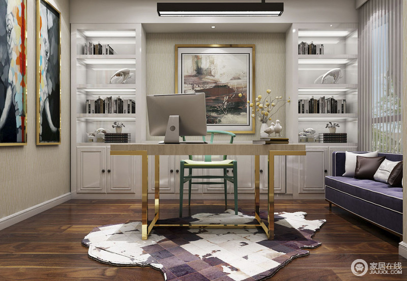 书房结构规整,定制得书柜实现了收纳,满足主人的藏书愿望;黄铜书桌搭配红色圈椅,而旁侧的紫色沙发与之组成时尚风;褐色木地板上铺的白色与咖色拼接地毯与艺术挂画形成不同的格调,让空间极具艺术感染力。