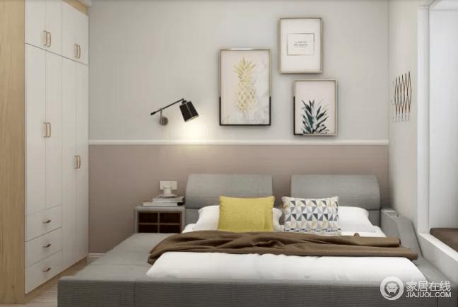 卧室浅灰色的壁纸搭配原本板材,以拼接的方式打造朴素,植物元素的挂画给空间带来清新;灰色的家具和白色衣柜搭配出层次,同时,次卧采用了榻榻米的形式,再搭配粉灰的墙面,让空间看上去优雅而不失活跃。