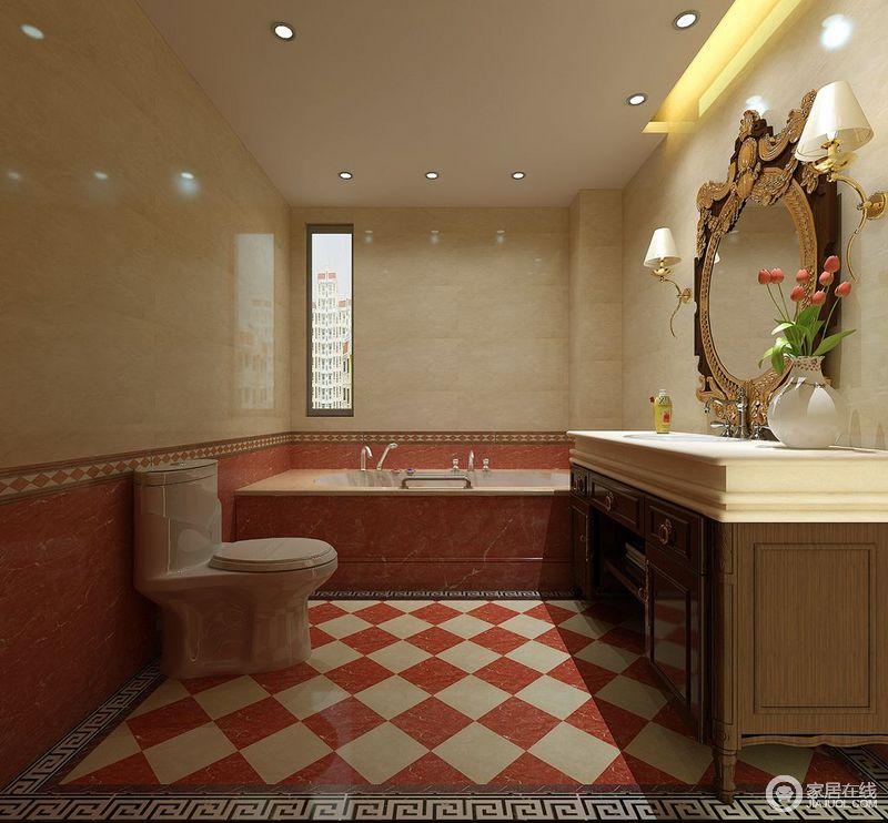 看似违和感十足的橙红色与大理石黄,在拼接、马赛克混搭组合下,竟然发挥出惊人的魅力。搭配棕褐复古收纳柜洗漱台,雕花装饰镜,使空间充满了复古、俏丽与众不同的气质。