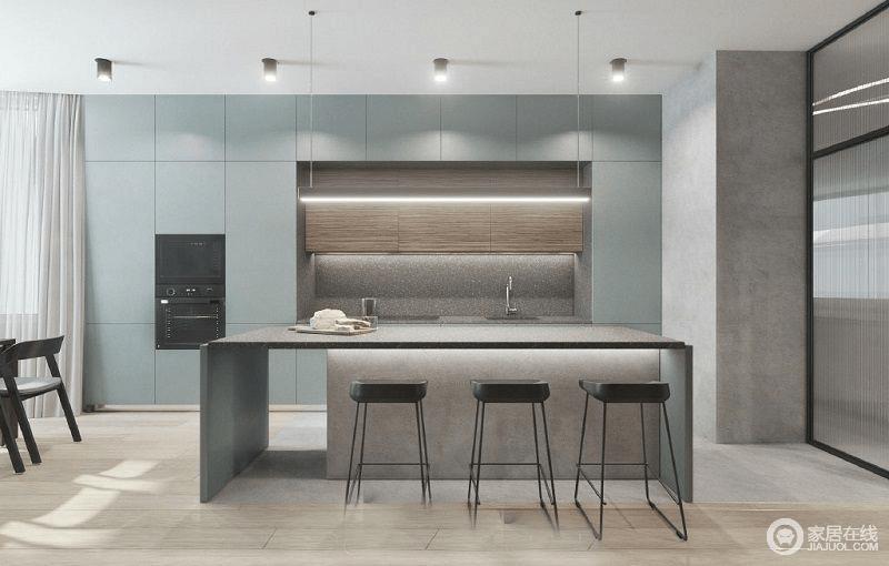 餐厨一体式的空间让你在简洁地空间内感受到生活的淡雅与舒适;莫迪兰橱柜简约大气,而石材的岛台搭配矩形大吧台,黑色高脚凳的轻尚给予空间工业个性。